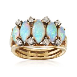 C. 1970 Vintage Marquise Opal and .35 ct. t.w. Diamond Ring in 18kt Yellow Gold. Size 5, , default