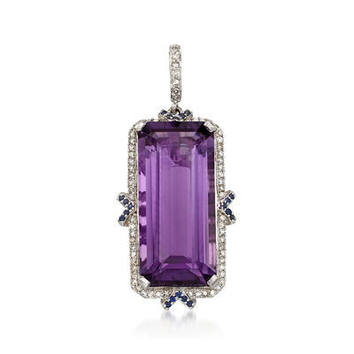 12.00 Carat Amethyst and .17 ct. t.w. Diamond Pendant in 14kt White Gold with Sapphire Accents, , default