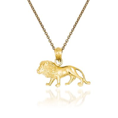 14kt Yellow Gold Lion Pendant Necklace, , default