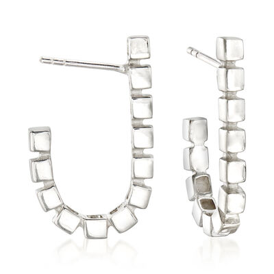 "Zina Sterling Silver ""Ice Cube"" J-Hoop Earrings, , default"