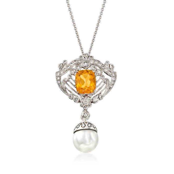 """C. 2000 Vintage 2.45 Carat Citrine and 9.5mm Cultured Pearl Drop Necklace with .70 ct. t.w. Diamonds in 18kt White Gold. 16"""", , default"""