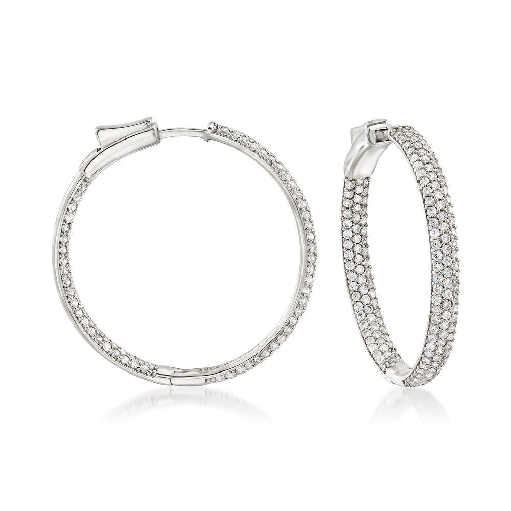 a889a61eccd3f 3.00 ct. t.w. Pave CZ Inside-Outside Hoop Earrings in Sterling Silver. 1  3/8