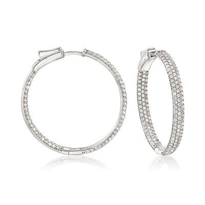 3.00 ct. t.w. Pave CZ Inside-Outside Hoop Earrings in Sterling Silver, , default
