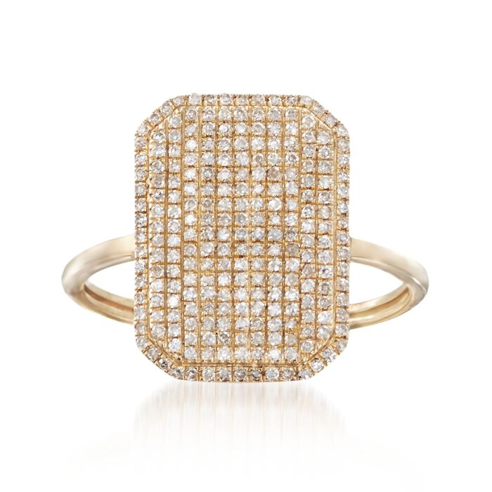 .33 ct. t.w. Pave Diamond Rectangular Ring in 14kt Yellow Gold, , default