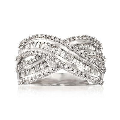 1.00 ct. t.w. Diamond Crisscross Ring in 14kt White Gold, , default