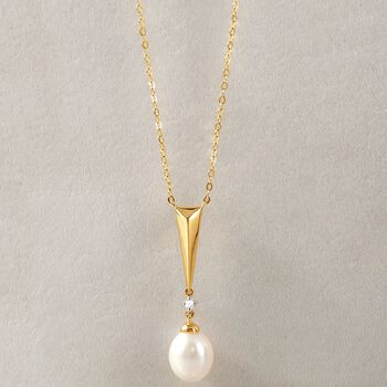 "8-8.5mm Cultured Pearl Triangle Drop Necklace with Diamond Accent in 14kt Yellow Gold. 18"", , default"