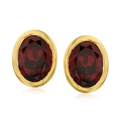 3.00 ct. t.w. Garnet Earrings in 18kt Gold Over Sterling