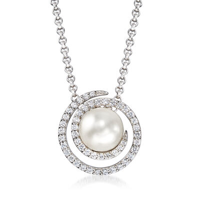 "Belle Etoile ""Thea"" Simulated Pearl and .70 ct. t.w. CZ Swirl Pendant in Sterling Silver"