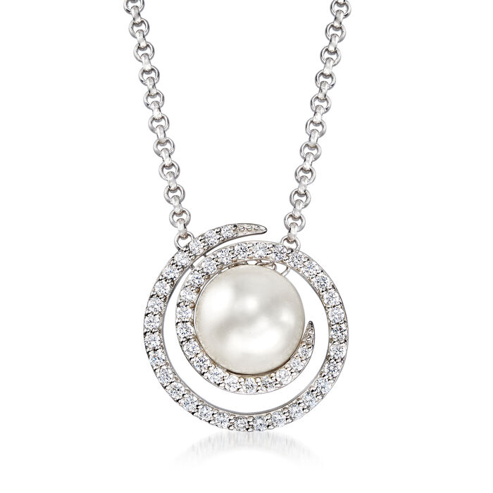 """Belle Etoile """"Thea"""" Simulated Pearl and .70 ct. t.w. CZ Swirl Pendant in Sterling Silver"""