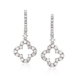 1.10 ct. t.w. Diamond Clover Drop Earrings in 14kt White Gold, , default