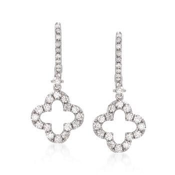 1.10 ct. t.w. Diamond Clover Drop Earrings in 14kt White Gold , , default