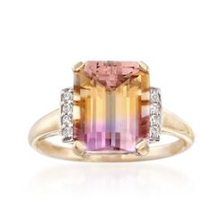 4.00 Carat Ametrine Ring With Diamond Accents in 14kt Yellow Gold, , default