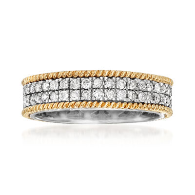 1.00 ct. t.w. Diamond Eternity Band in Sterling Silver and 14kt Yellow Gold