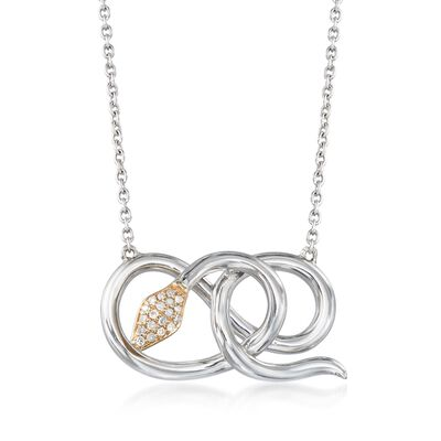 .11 ct. t.w. Diamond Coiled Snake Pendant Necklace in Sterling Silver and 14kt Yellow Gold, , default