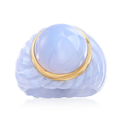 14mm Blue Chalcedony Ring in Carved Blue Agate and 14kt Yellow Gold
