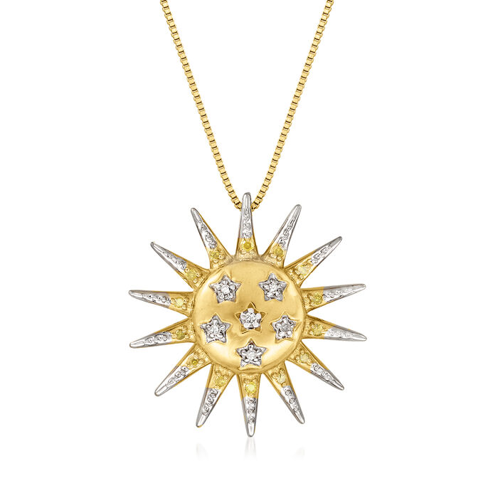 .10 ct. t.w. Diamond Sun Necklace in 18kt Gold Over Sterling