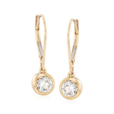 1.00 ct. t.w. Diamond Bezel-Set Drop Earrings in 14kt Yellow Gold, , default