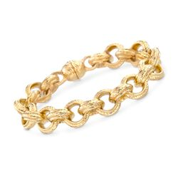"Italian Andiamo 14kt Yellow Gold Circle Link Bracelet. 8"", , default"