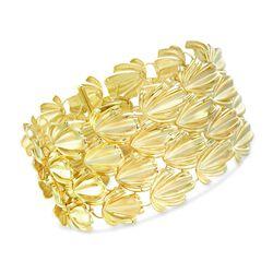Italian 14kt Yellow Gold Leaf Link Bracelet, , default