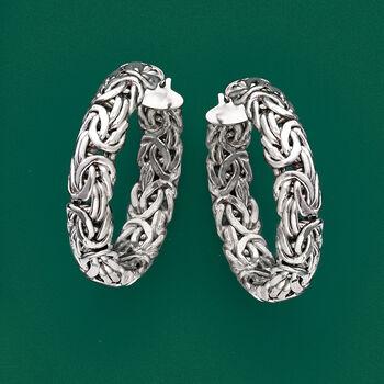 """Sterling Silver Medium Byzantine Hoop Earrings. 1 3/8"""", , default"""