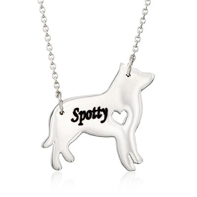 Sterling Silver Husky Dog Name Necklace, , default