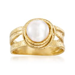 7-8mm Cultured Pearl Ring in 18kt Gold Over Sterling, , default