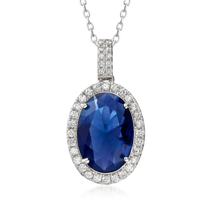 7.50 Carat Simulated Sapphire and .50 ct. t.w. CZ Pendant Necklace in Sterling Silver, , default