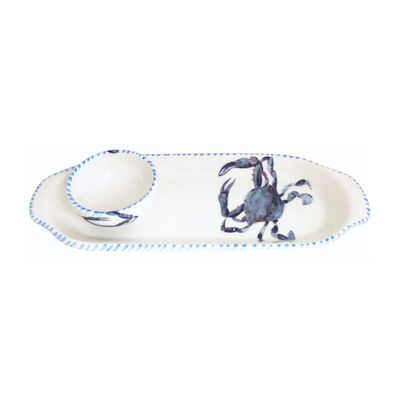 Abbiamo Tutto Italian Blue Crab Ceramic Set: Narrow Tray and Mini Dipping Bowl, , default