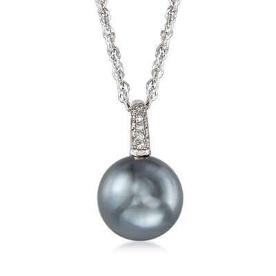 13mm Black South Sea Pearl Necklace with Diamond Accents in 18kt White Gold, , default