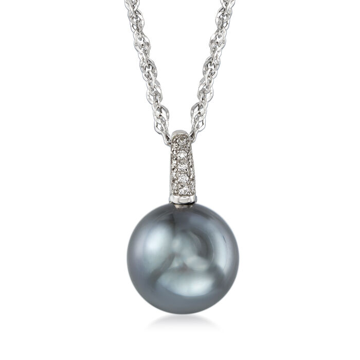 """13mm Black South Sea Pearl Necklace with Diamond Accents in 18kt White Gold. 16"""""""