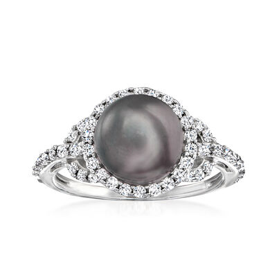 8.5-9mm Black Cultured Pearl and .50 ct. t.w. CZ Ring in Sterling Silver