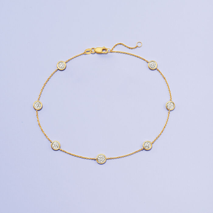 .25 ct. t.w. Pave Diamond Station Anklet in 14kt Yellow Gold