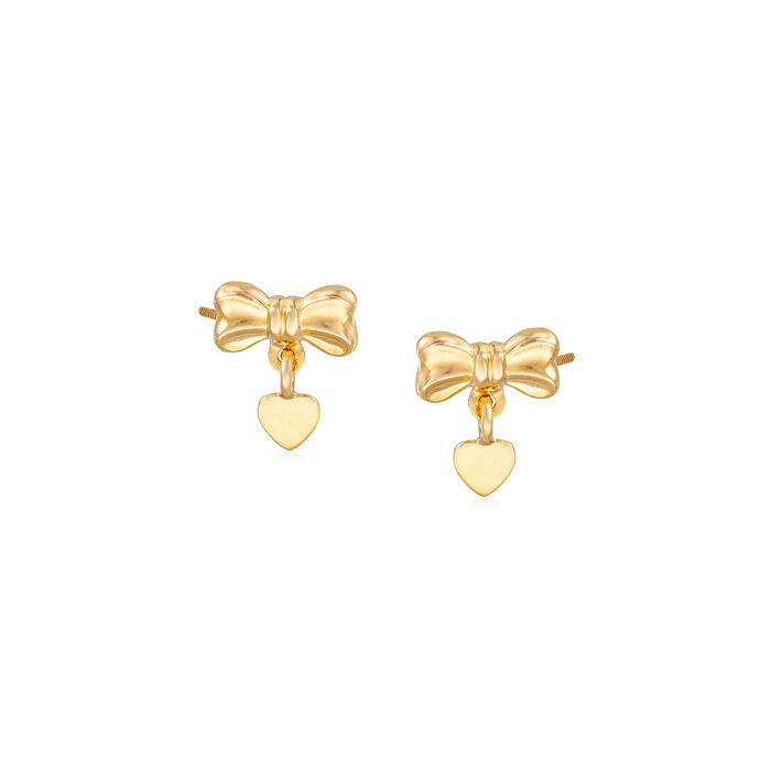 Child's 14kt Yellow Gold Bow and Heart Stud Earrings, , default