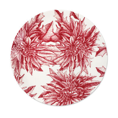 "Caskata ""Poinsettia"" Red and White Porcelain Coupe Platter, , default"