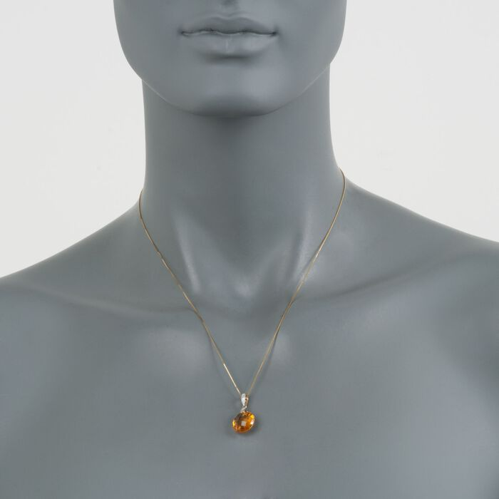 "5.67 Carat Citrine Pendant Necklace with Diamond Accents in 14kt Yellow Gold. 18"", , default"