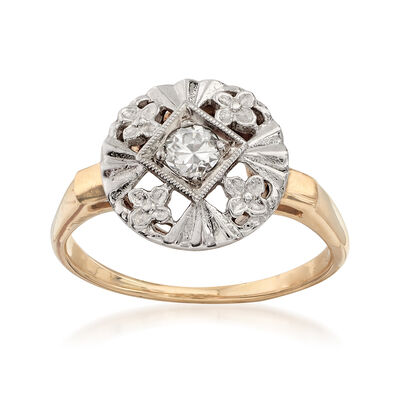 C. 1950 Vintage .20 ct. t.w. Diamond Floral Ring in 14kt Two-Tone Gold, , default