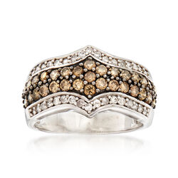 C. 1990 Vintage 1.15 ct. t.w. Champagne and White Diamond Ring in 10kt White Gold, , default