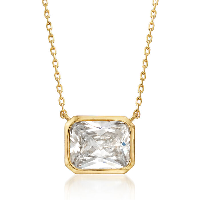 """4.00 Carat Radiant-Cut CZ Solitaire Necklace in 18kt Gold Over Sterling. 16"""""""