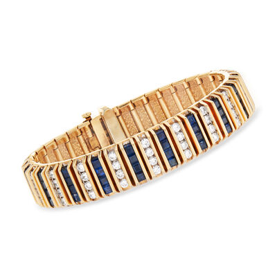 C. 1960 Vintage 7.60 ct. t.w. Sapphire and 4.50 ct. t.w. Diamond Bracelet in 14kt Yellow Gold, , default