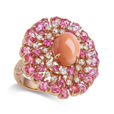 Pink Coral, 4.80 ct. t.w. Pink Sapphire and 1.20 ct. t.w. Diamond Ring in 18kt Rose Gold
