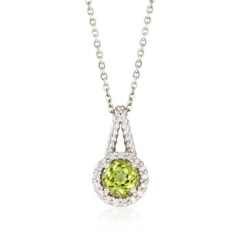 """C. 2000 Vintage .90 Carat Peridot and .18 ct. t.w. Diamond Pendant Necklace in 14kt White Gold. 18"""", , default"""