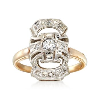 C. 1930 Vintage .28 ct. t.w. Diamond Dinner Ring in 14kt Yellow Gold. Size 6, , default