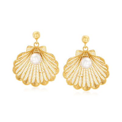 Italian Cultured Pearl Seashell Drop Earrings in 18kt Gold Over Sterling Silver, , default