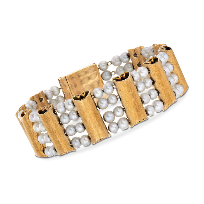 """C. 1970 Vintage Luciene Piccard 4mm Cultured Pearl and 14kt Yellow Gold Scroll Bracelet. 7"""", , default"""