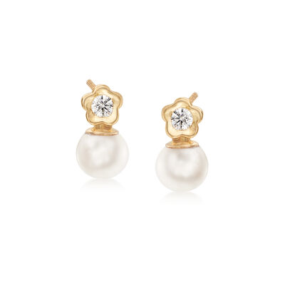 Child's 4-4.5mm Cultured Pearl and CZ-Accented Flower Earrings in 14kt Yellow Gold, , default