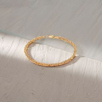 Italian 14kt Yellow Gold Byzantine Bracelet with Rolled Edges, , default