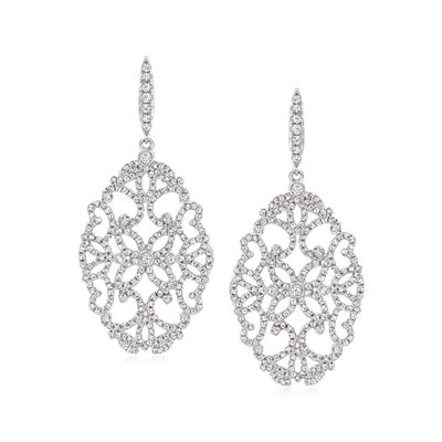 2.11 ct. t.w. Diamond Openwork Drop Earrings in 14kt White Gold