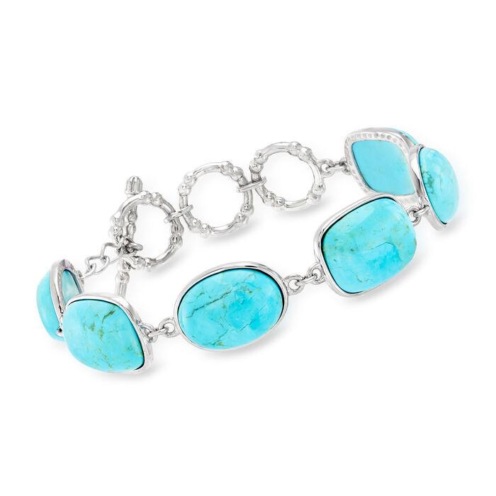 "Turquoise Link Bracelet in Sterling Silver. 7"""