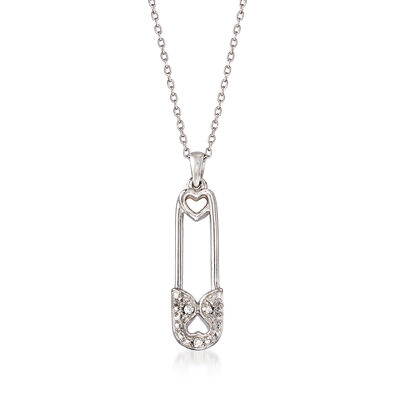 Sterling Silver Safety Pin Pendant Necklace with Diamond Accents
