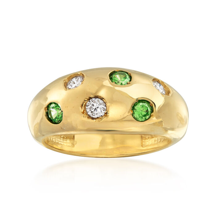C. 1980 Vintage .30 ct. t.w. Tsavorite and .25 ct. t.w. Diamond Ring in 14kt Yellow Gold. Size 5.5